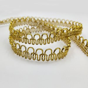 Wholesale 1 cm Wide Gold Silver Line Curve Lace Trim Ribbon Band DIY Garment Accessories Clothing Textiles Curved Edge Sew Webbing