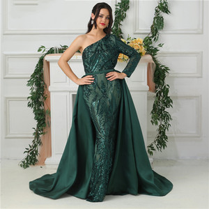 Wholesale Satin Mermaid Evening Dress Sparkly Removable Skirt Dark Green One Shoulder Long Sleeve Sequin Prom Gowns Belt Detachable Train Luxury