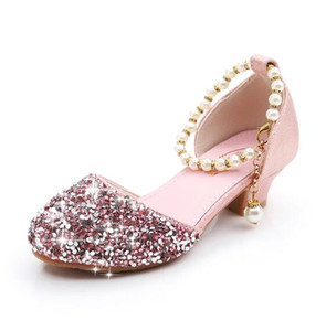 Wholesale New Children Princess Pearl Beading Sandals Kids Wedding Prom Formal Shoes High Heels Dress Shoes Party Shoes For Girls