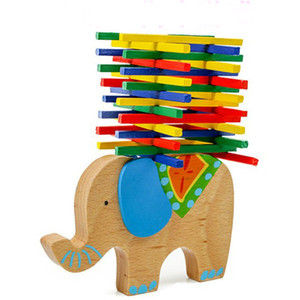 Wholesale Children s elephant balance game wooden blocks build stacking high Interactive game early education teaching aids educational toys