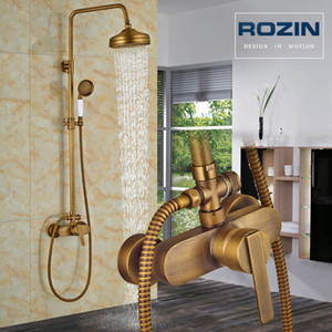 Wholesale led bathroom faucets set for sale - Group buy Rainfall Bathroom Shower Set Brass Antique Shower Mixers with Handshower Single Handle Wall Mounted Shower Faucet Tap T200616