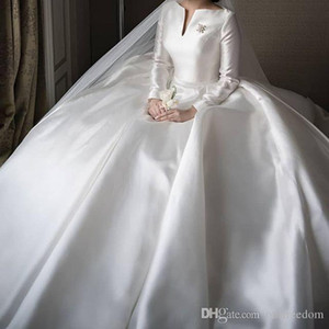 Wholesale black white bridal dresses for sale for sale - Group buy 2019 Elegant Bateau Muslim Wedding Dresses Long Sleeve A Line White Stain Sweep Train For Church Garden Bridal Gowns Custom Made Hot Sale