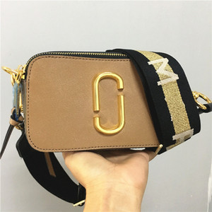 Wholesale 2019 new camera bag wide shoulder strap mixed color small square bag leather ladies handbag double zipper small shoulder