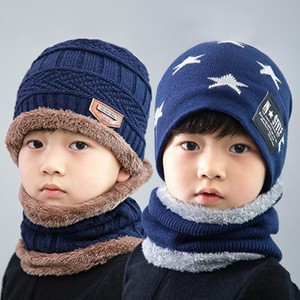 Wholesale baby boy winter scarf resale online - Children Winter Hats Scarf Set Kids Knit Double Layer Hats Baby Girls Boys Outdoor Warm Wool Cap Scarf Xmas Gifts TTA1723