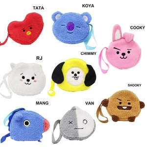 Wholesale BTS BT21 KOYA Wallet Girl Coin Purse Cute Cartoon Zipper Change Bag Phone Bag Pencil Case BOYS Purses and Wallets Coin Purses