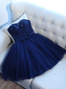 Wholesale Chic Strapless Lace Tulle A-Line Navy Blue Prom Dresses 2015 Short Mini Pattern Beading Party Dress Boutique Lace Up Back Sweet 16 Dresses