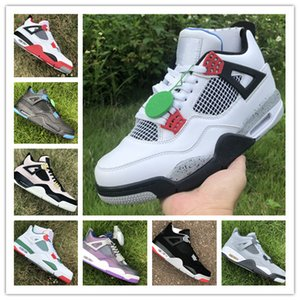 Wholesale Best Quality 4s 2019 Bred low black male Men Basketball Shoes 4S Cement grey Black Red bred 4 Pale Citron Sneakers on Sale
