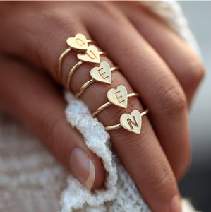 Wholesale Minimalism A Z Initial Letter Ring Gold Adjustable Rings For Women Girls Birthday Fashion Love Ring Anillos Mujer Femme Jewelry