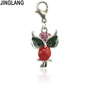Wholesale JINGLANG Hot High Quality Fashion Enamels Charms Gift Owl Alloy Pendant Bracelet Necklace Jewelry Accessories DIY Craft
