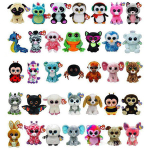 Wholesale 35 Design Ty Beanie Boos Plush Stuffed Toys cm Big Eyes Animals Soft Dolls for Kids Birthday Gifts toy toys