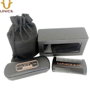 MOQ 50pcs Black Beard Care Suit Custom LOGO in Gift Box Fine & Coarse Teeth Wooden Hair Beard Comb & Boar Bristle Beard Brush