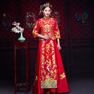 Wholesale Embroidery Dragon Phoenix Cheongsam Traditional Noble Women Wedding Dress Classic Full Length Marriage Suit Stage Show Gowns