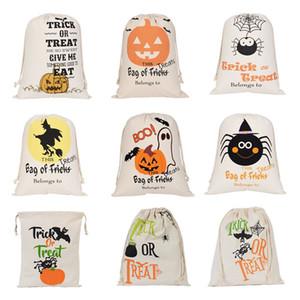 Halloween Candy Bag Gift Sack Treat or Trick Pumpkin Printed Canvas Bags Hallowmas Christmas Party Festival Drawstring Bag