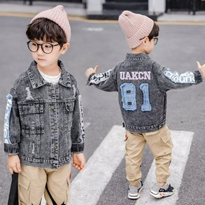 Wholesale Fashion Boys hole denim jacket fall new kids number embroidered jean outwear fall new children letter printed cowboy casual outwear F9052