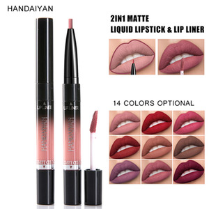 Love Bety New Double Head Lip Gloss Lip Liner Pen Moisturizer Gloss Matte Lipstick Set Cosmetics Long Lasting Make Up Flower
