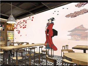 Wholesale wallpapers women for sale - Group buy 3D wall covering custom mural wallpaper Sakura falling red reflection japanese style kimono woman background wall home decor wall papers