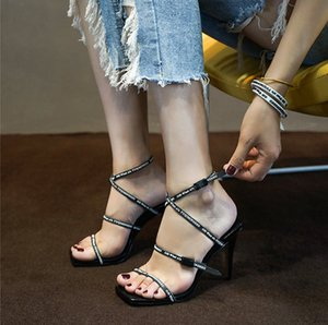 Wholesale Stylish white black and red rubber belt gladiator sandals ladies high heels heels unique adjustable ankle strap wedding dress shoes