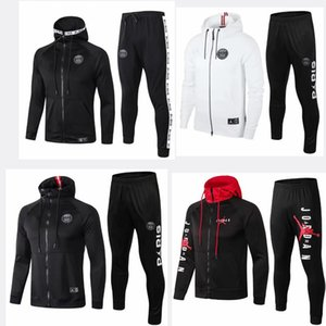 PSG white Paris hoodie soccer jacket 18-19-20 redness tracksuit football jacket 2019-20 Survêtement Jordam X psg hoodie on Sale
