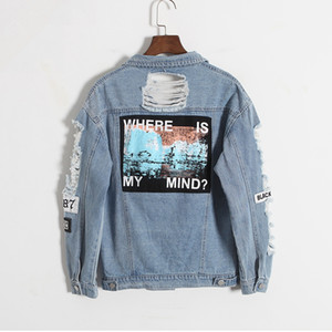 Wholesale Jocoo Jolee Korean Version Retro Washing Frayed Embroidery Letter Patch Bomber Jacket Blue Ripped Distressed Denim Coat Female