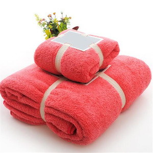 Clean Hearting 2pcs Towel Microfiber Fabric Towel Set Plush Bath Face Hand Quick Dry Towels for Adult Kids Bath Hair Gifts