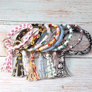 Leather Bracelet Key Chain PU Wristr Round Print Key Ring Tassel Pendant Wristbands Key Holder Tassel Bracelet JJ19924