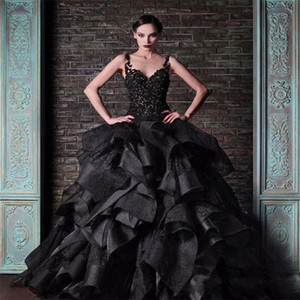 Wholesale 2020 New Arabic Black Ball Gown Wedding Dresses Spaghetti Straps Lace Appliques Sleeveless Open Back Organza Tiered Formal Bridal Gowns