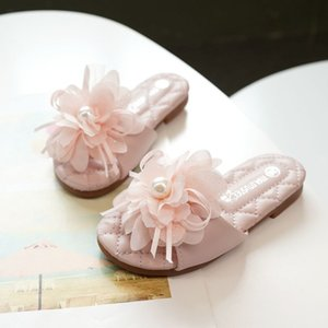 Summer Fashion Kids Slippers flower Girls Beach Shoes Children Comfortable Artificial Flower Slippers For 203A-56 on Sale