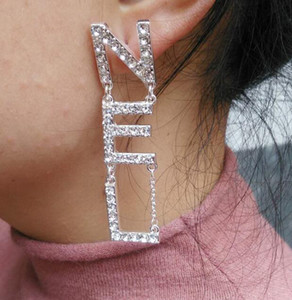 Wholesale In Stock Hot Sale Designer Full Rhinestone Letter Tassel Earrings For Women Fashion Stud Earring Jewelry Gifts