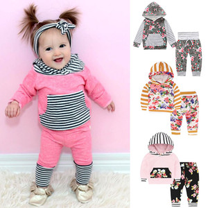 Wholesale boys tracksuit 12 resale online - 12 Styles Baby Tracksuit INS Kids Hoodie Pants Clothing Set Floral Striped Print Outfits Outwear Boy Girls Baby Set Children Clothes M685