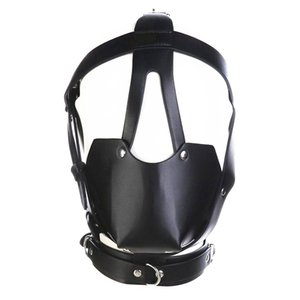 Wholesale fetish head harness mouth mask with ball gag kinky play bdsm bondage gear roleplay sex toys for women black