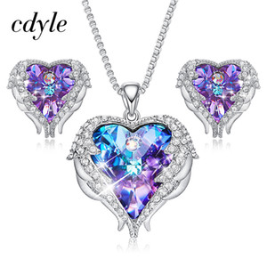 Wholesale Cdyle Crystals From Swarovski Angel Wings Necklaces Earrings Purple Blue Crystal Heart Pendant Jewelry Set For Mothers Day Gift C19041501