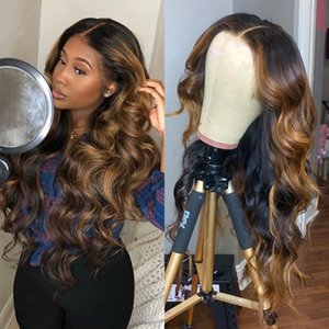 Wholesale long brown wavy hair resale online - Ombre Highlight Wig Brown Honey Blonde Colored wavy HD Whole Lace Front Human Hair Wigs Straight Full Lace Frontal Wig Remy