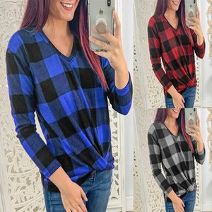 Wholesale 2020 Women s T Shirt Fashion Hot Sale V Neck Long Sleeve Kink Plaid Top Casual Spring thin T Shirt Large Size S XL