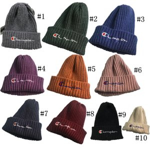 Wholesale Champion Letters Designer Kids Beanie Hat Winter Kintted Hats Boys Girls Brand Warm Wool Caps Gorro Child Crochet Skiing Skull Hats C73105