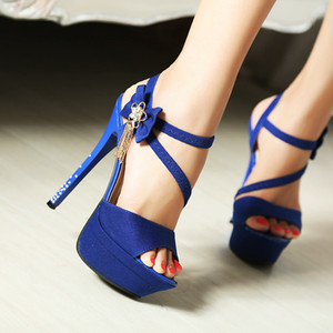 Hot sell 14cm blue buckles waterproof taiwan high heel shoes sexy flowers diamond women dress shoes yzs168