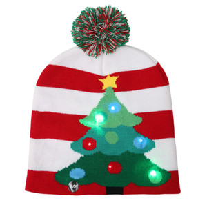 Wholesale LED Knitted Christmas Beanie Christmas Tree Snowflake Beanie Light Up Warm Hat for Children Adult Party