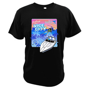 Wholesale Grand Theft Auto Vice City T Shirt Helicopter Cotton Digital Print High Quality Boat Tee Shirt Video Game Tops