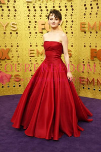 2019 New Emmy Awards Strapless Red Satin Celebrity Dresses A Line Puffy Formal Evening Red Carpet Prom Party Dresses on Sale