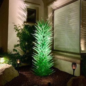 Custom Hand Blown Glass Sculpture Indoor Art Decoration Green Glass Art Floor Lamp Garden Sculptures Flower Trees Sculpture
