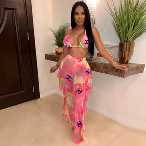 Wholesale Colour Letter printing dyeing Gauze Two piece set sexy Halter backless Top trousers set Summer Nightclub Suit casual beach Women Clothing
