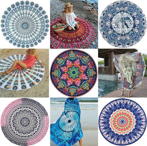 Indian Mandala Beach Towel Round Beach Blanket Polyester Elephant Printing Tapestry Yoga Mat Summer Picnic Rug 16 colors MMA1685 on Sale