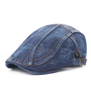 Unisex Adjustable Design Breathable Denim Retro Casual Berets Newsboy Flat Ivy Gatsby Cabbie Driving Hunting Hat Dad Cap Free Shipping