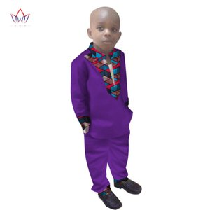 2019 Boys Clothes African Dashiki Kids Clothing LongoingSleeves Plus Solid Color Long Pant For Children WYT108