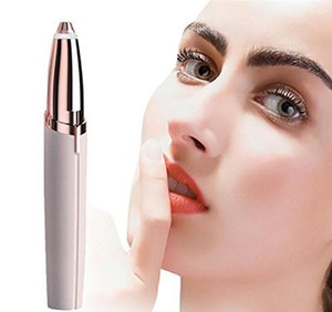 Wholesale 30pcs Lipstick Eye Brows Hair Remover Micro Precision K Gold Plated Remover Epilator Eyebrow Trimmer Shaving Machine Razor BuiltLED Light