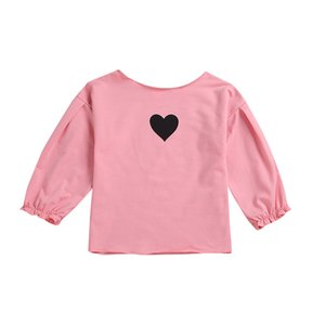 Girls Puff Sleeve Shirts Golden Five-pointed Star Pattern T-Shirt Kids Heart Shaped Printed Shirt Long Sleeve Top 43 on Sale
