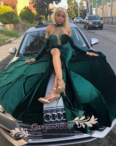 2k19 dark green high split Mermaid Prom Dresses Sexy halter Evening Gowns South African with detachable sleeves beaded Pearls Party dresses on Sale