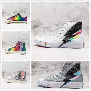 Wholesale 2019 Designer Rainbow Lightning Low High Casual Trainer White Grey Multicolors Sequin Canvas Shoes Men Womans Sports Sneaker
