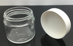 Wholesale oz containers resale online - 60ml glass jar clear oz glass cosmetic jar with black white lid cap wide bore mouth candle cream wax container stash storage