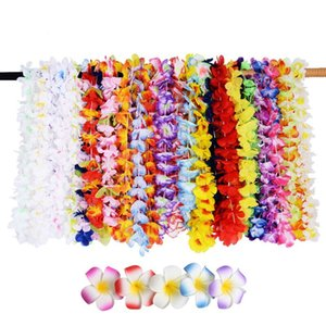 Wholesale 5pcs Hawaiian leis Garland Artificial Flower Wreath Hair Clips Necklace Hawaii Beach Fun Party Supplies DIY gift Decoration