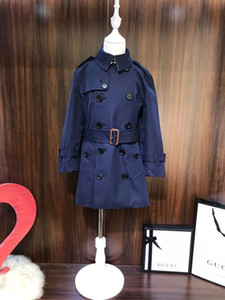 Boys and girls windbreaker kids designer clothes autumn belt trench coat cotton fabric black beige simple British wind coat
